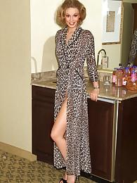 Hope Posing nigh Leopard Robe