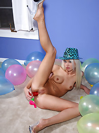 Party Chick Rebecca Blue Takes a Dildo Up Her Ass