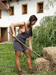 Viktoria Sweet Takes Rake Handle in Pussy