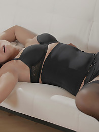 Gianna wearing black lingerie has steamy sex with her lover until he cums in her mouth. She is stunning.