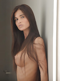 The sleek curves of Katrina's body are stunning in soft white light